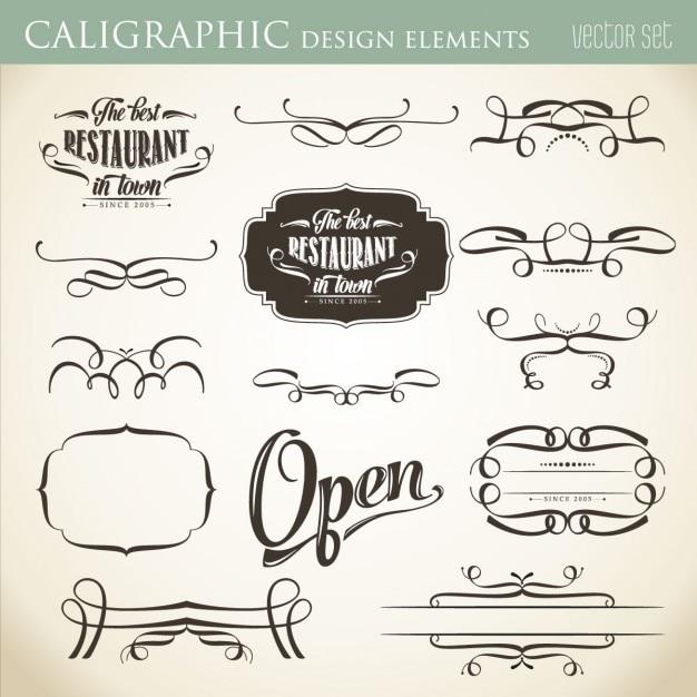 Elementos de diseño caligráfico Vector Gratis