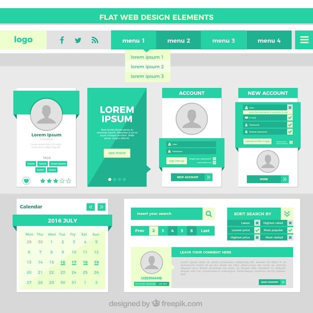 Elementos de diseño web planas en color verde | Descargar Vectores ...