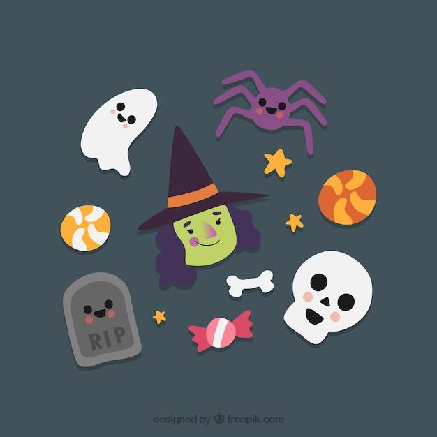 elementos de Halloween  Vector Gratis