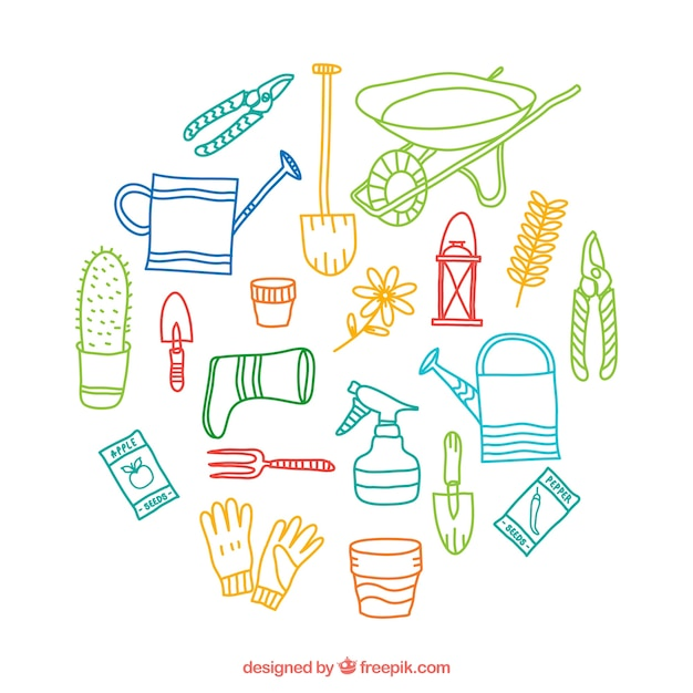 elementos de jardiner a esbozados descargar vectores gratis