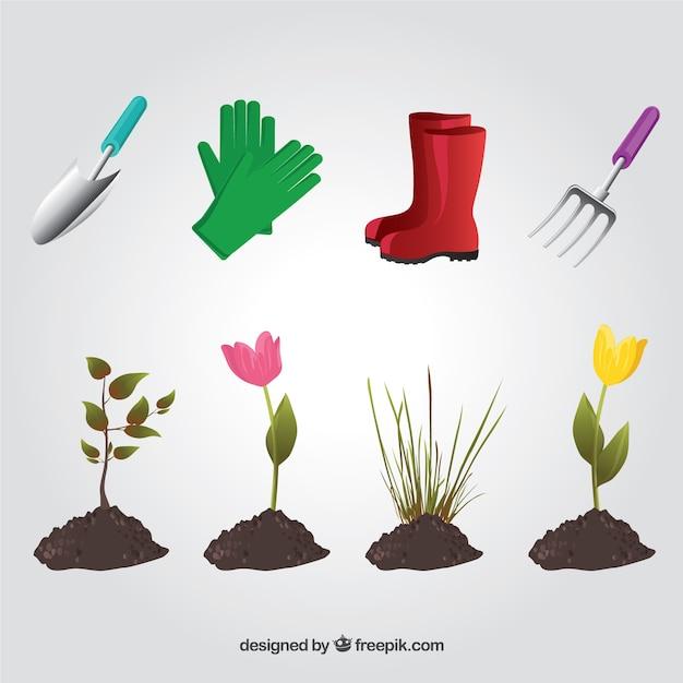Elementos de jardiner a descargar vectores premium for Elementos de jardineria