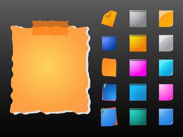 Elementos de oficina notas de papel de colores descargar for Papel para oficina