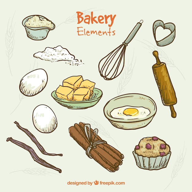 Elementos de panader a dibujados a mano y utensilios de for Utensilios y materiales de una cocina de restaurante