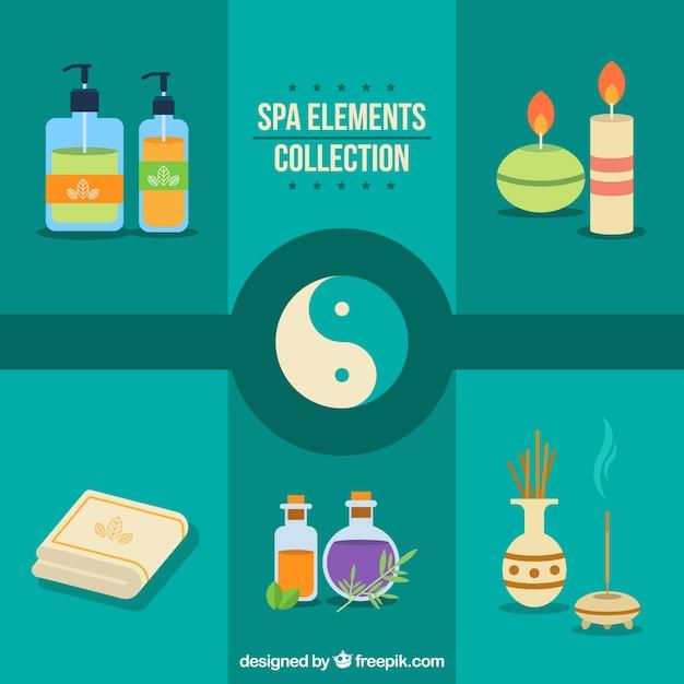 Elementos de spa con símbolo de yin yang Vector Gratis