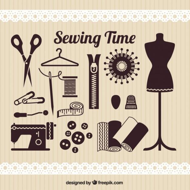 Elementos de tiempo de coser Vector Gratis