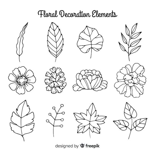 Elementos de decoración florales dibujados a mano sin color vector gratuito