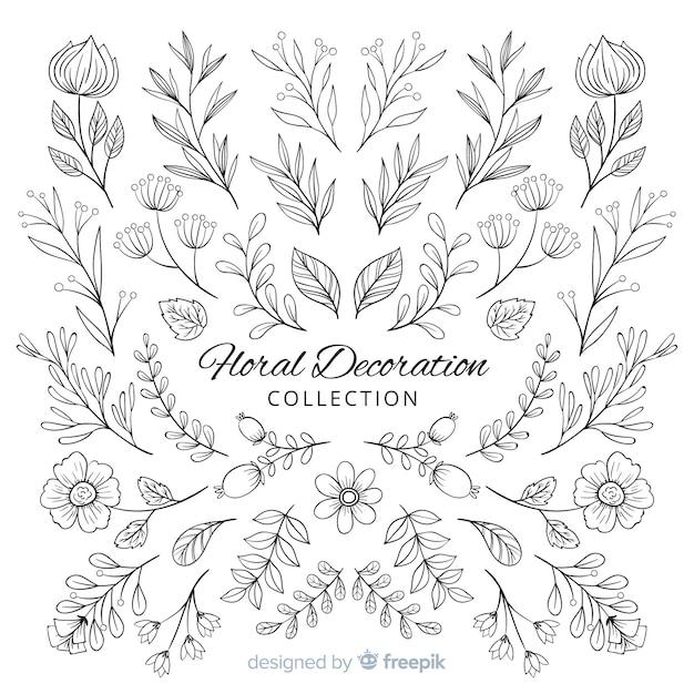 Elementos decorativos florales dibujados a mano vector gratuito
