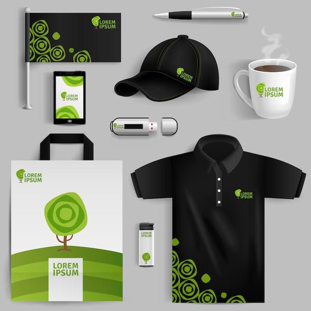 Elementos decorativos de la identidad corporativa ecológica. vector gratuito