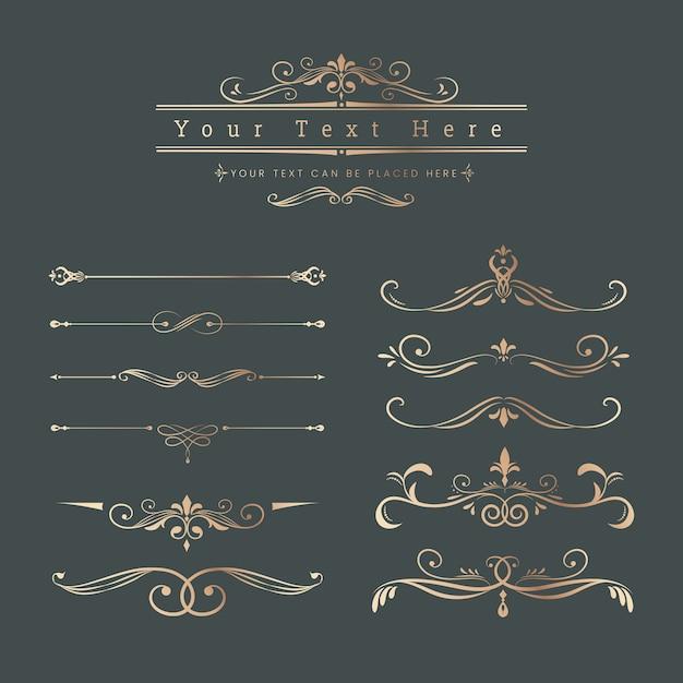 Elementos decorativos vintage de diseño. vector gratuito