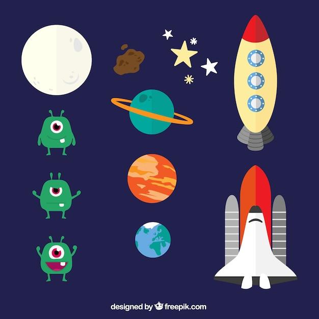 Elementos del espacio en estilo de dibujos animados - Dibujos infantiles del espacio ...
