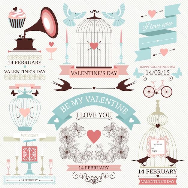 Elementos del día de san valentín. conjunto de iconos de boda vintage Vector Premium