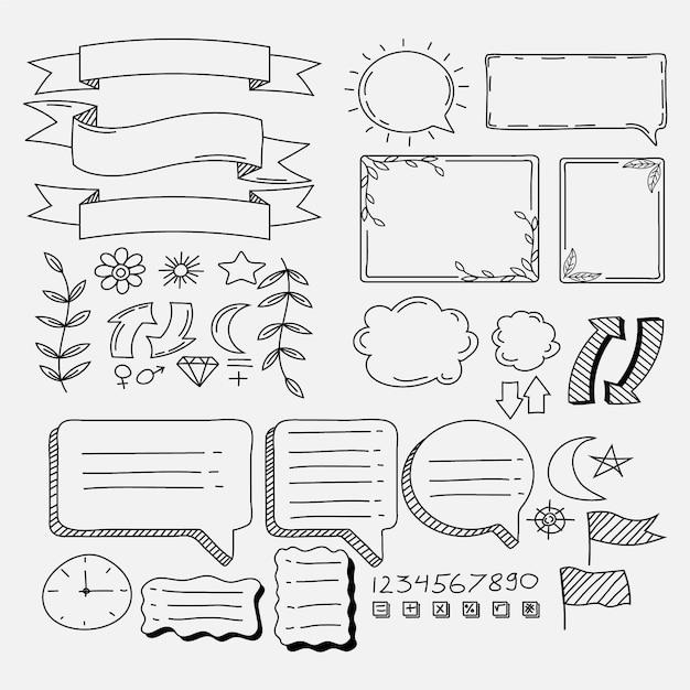 Elementos de diario de bala dibujados a mano espacio de copia vector gratuito