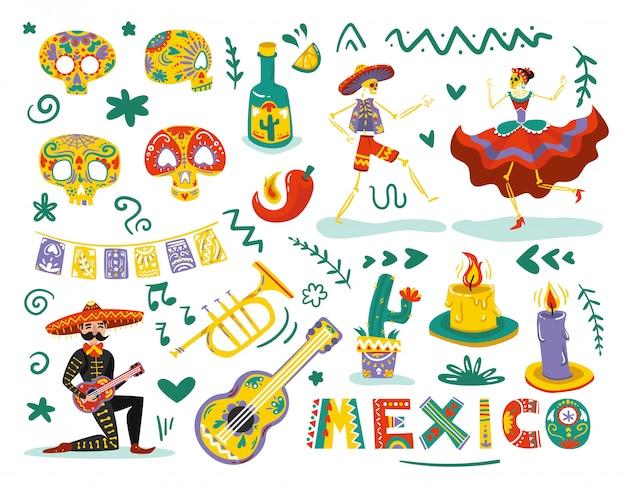 Elementos de los días muertos mexicanos atribuye colorido conjunto con esqueletos danzantes máscaras de calaveras de azúcar vector gratuito