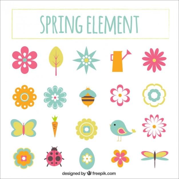 Elementos dibujados a mano lindo de la primavera for Elementos de jardineria