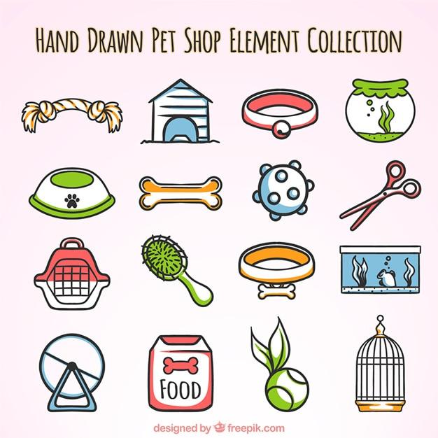 Elementos dibujados a mano para una tienda de mascotas vector gratuito