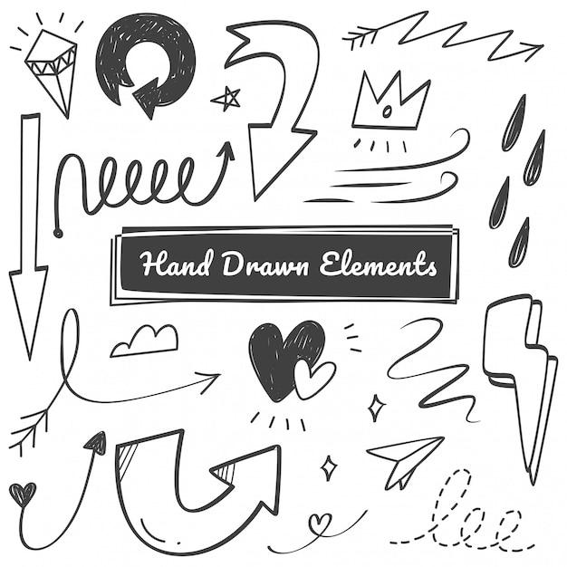 Elementos dibujados a mano Vector Premium
