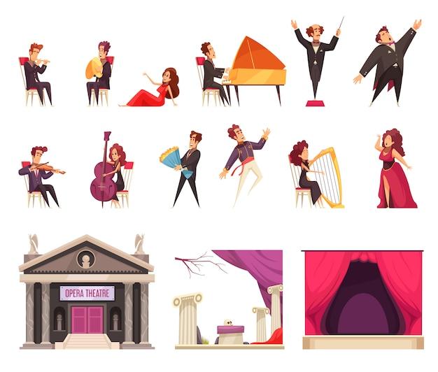 Elementos de dibujos animados planos de teatro de ópera con músicos cantantes cantantes conductor escenario cortina decoraciones edificio vector gratuito