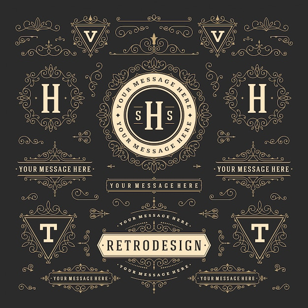 Elementos de diseño de adornos vintage remolinos y pergaminos decoraciones Vector Premium