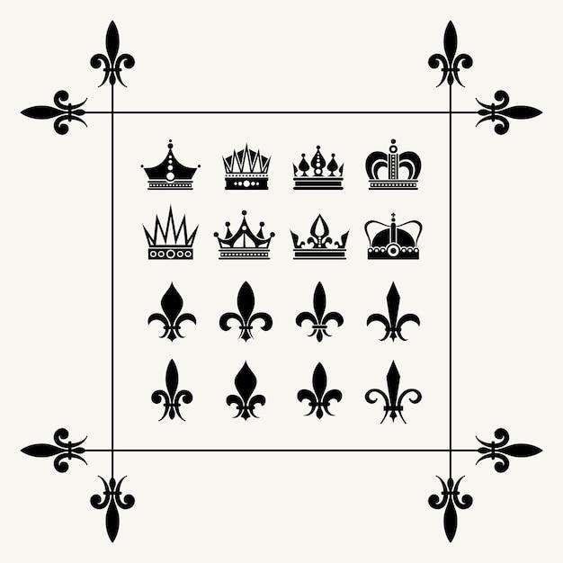 Elementos de diseño geraldic coronas y flor de lis Vector Premium