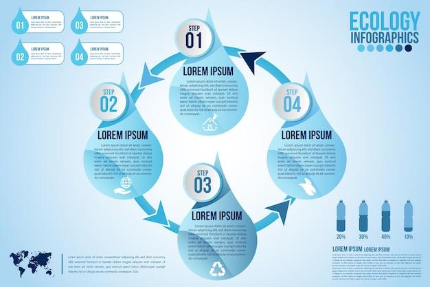 Los elementos de diseño de infografía eco agua azul procesan 4 pasos u opciones de piezas con gota de agua Vector Premium