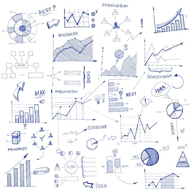 Elementos de diseño infográfico doodle vector gratuito
