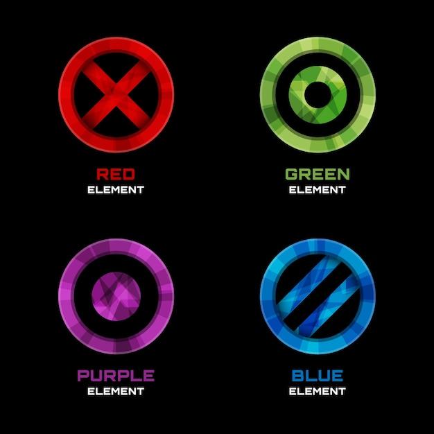Elementos de diseño de logotipo de círculo, cruz y punto. azul y rojo, violeta y verde. ilustración vectorial vector gratuito