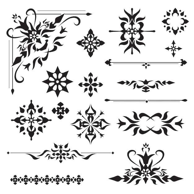 Elementos de diseño ornamentales vector gratuito