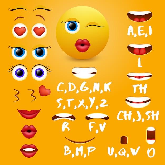Elementos de diseño de vectores de animación de boca emoji femenino Vector Premium