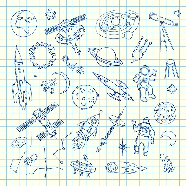 Elementos del doodle del espacio. vector dibujado a mano elementos del transbordador espacial Vector Premium