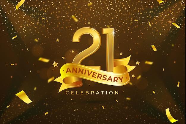 Elementos dorados en el fondo del 21 aniversario. vector gratuito