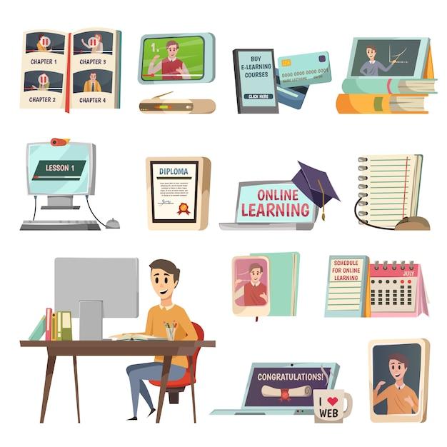 Elementos de educación en línea vector gratuito