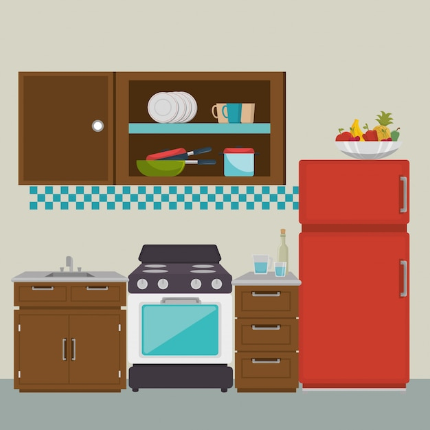 Elementos de escena moderna de cocina vector gratuito
