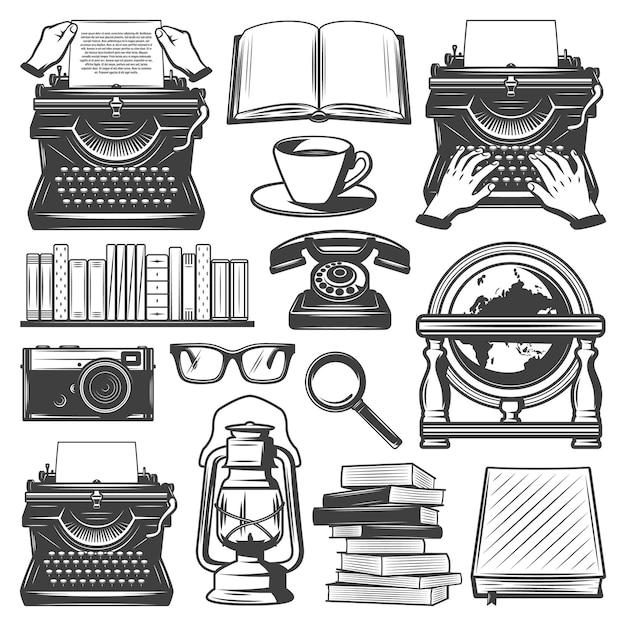 Elementos de escritor vintage con libros de máquina de escribir café anteojos lupa lámpara de aceite portátil cámara retro globo teléfono aislado vector gratuito
