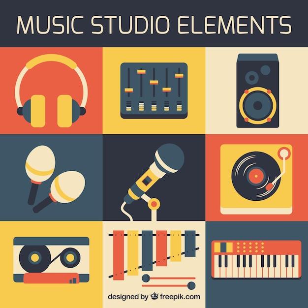 Elementos de estudio de música en diseño plano vector gratuito
