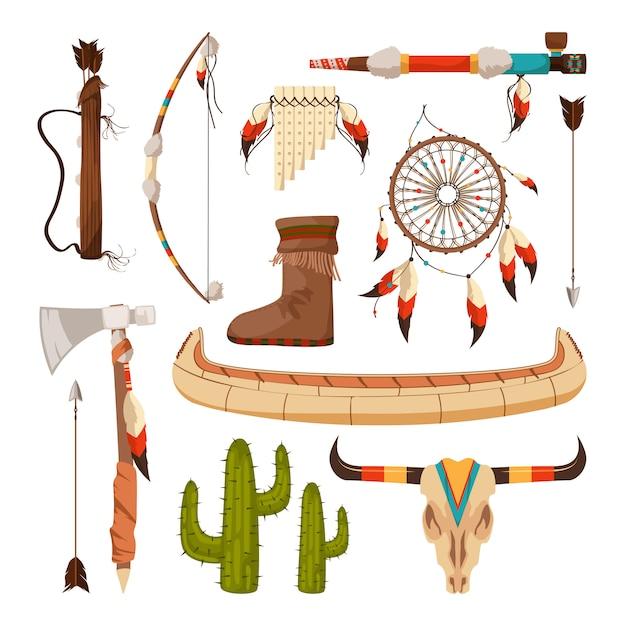 Elementos étnicos y tribales y símbolos de los indios americanos. Vector Premium