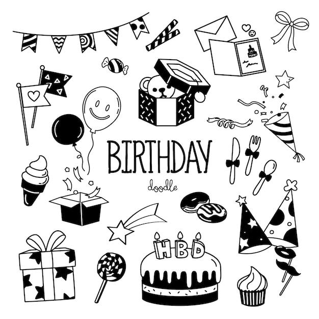 Elementos de fiesta de cumpleaños de estilos de dibujo a mano Vector Premium