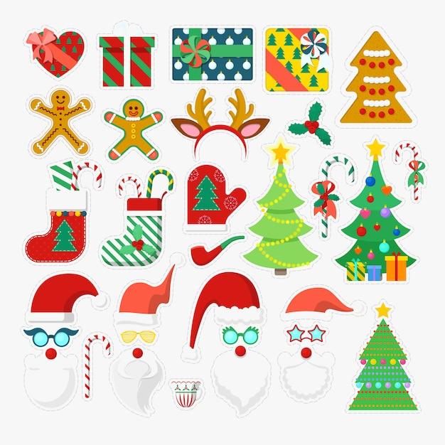 Elementos de fiesta de feliz navidad photo booth con gafas, accesorios y astas. ilustración Vector Premium