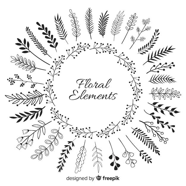 Elementos florales de decoración dibujados a mano vector gratuito
