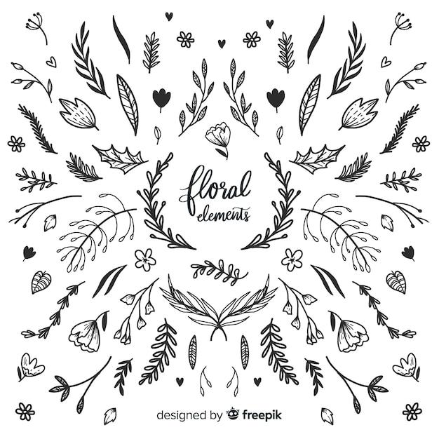Elementos florales decorativos sin color dibujados a mano vector gratuito