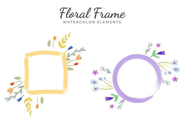 Elementos florales marco acuarela vector gratuito