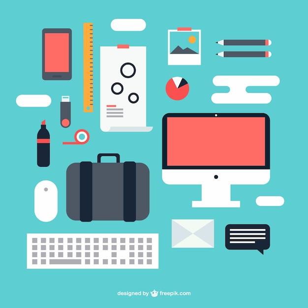 Elementos gr ficos kit de oficina descargar vectores gratis for Elementos para oficina