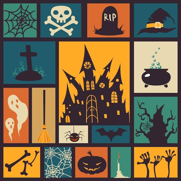 Elementos de halloween en cuadrados de colores Vector Premium