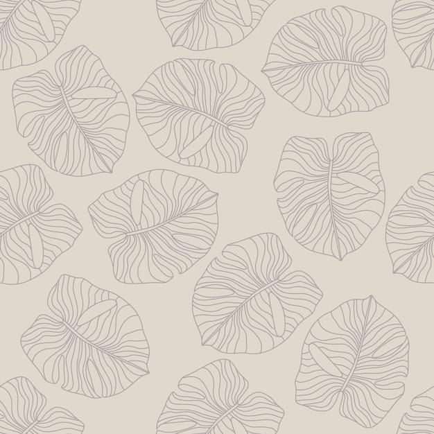Elementos de la hoja de monstera pálido patrón dibujado a mano sin fisuras. follaje botánico exótico de hawaii Vector Premium