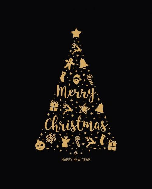 Elementos de icono de oro árbol de navidad letras fondo negro | Vector  Premium