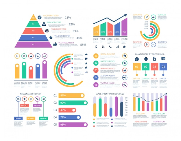 Elementos de infografía analítica. gráfico de datos, diagrama gráfico de marketing. presupuesto histograma plano. elementos de infografía estadística Vector Premium