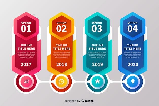 Elementos de infografía colorida línea de tiempo vector gratuito