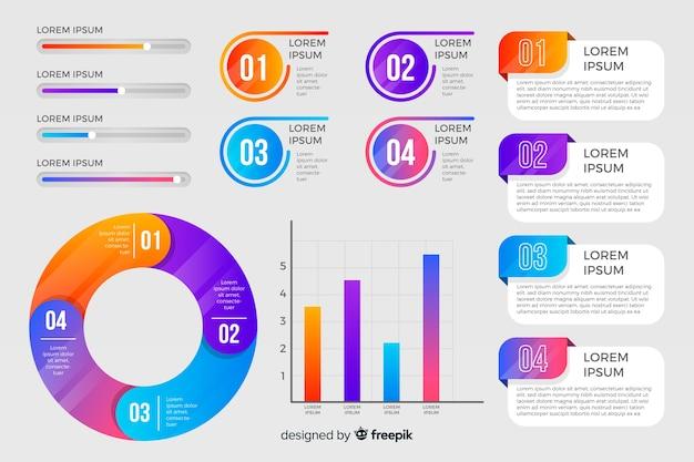 Elementos infografía coloridos diseño plano vector gratuito