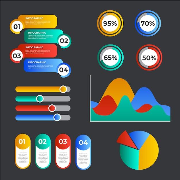 Elementos de infografía degradado colorido vector gratuito