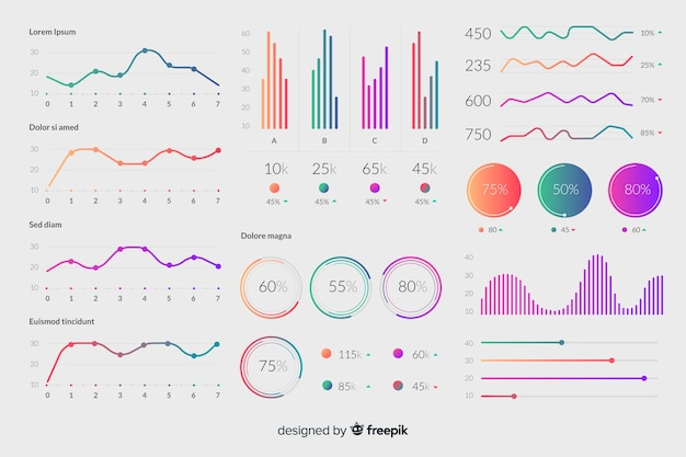 Elementos infografía degradados vector gratuito