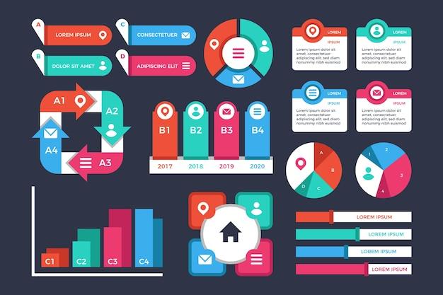 Elementos de infografía de diseño plano. vector gratuito